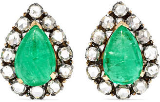 Amrapali 18-karat Gold, Diamond And Emerald Earrings