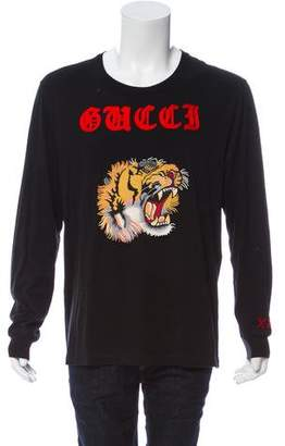 Gucci 2017 Tiger Embroidered T-Shirt