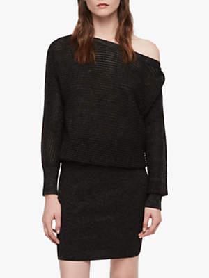 Elle Metallic Merino Wool Knitted Dress, Black