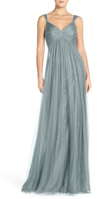 Women's Monique Lhuillier Empire Waist Tulle Twist Front Gown $290 thestylecure.com