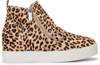 J/Slides Leopard Studdie Dual Zip Wedge Sneakers