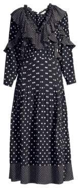 Rebecca Taylor Long-Sleeve Ruffle Polka Dot Silk A-Line Midi Dress