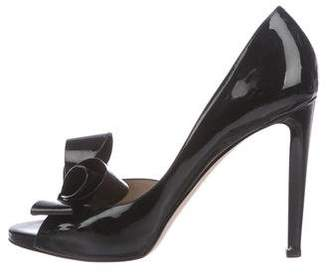 Valentino Patent Leather Bow Accented Pumps