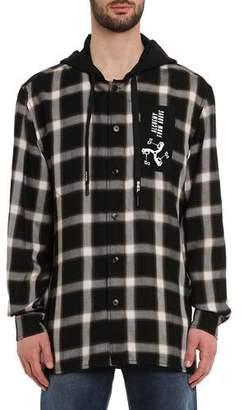 Diesel Men's Dovin Hooded Plaid Shirt Jacket