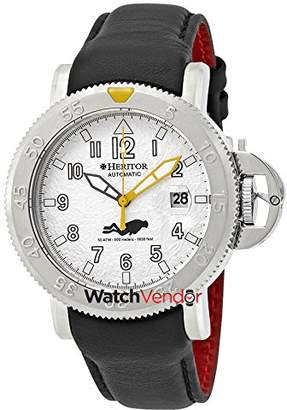 Heritor Cahill Silver Hammered Black Leather Strap Automatic Men's Watch HR5105