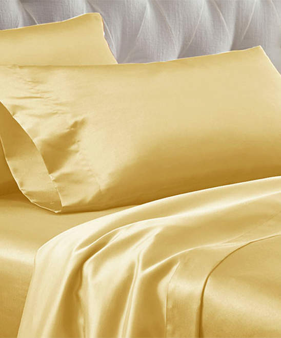 Gold Solid Satin Sheet Set
