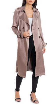 Badgley Mischka Collection Double Breasted Satin Trench Coat