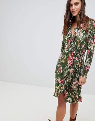 Vila Floral Ruffle Wrap Dress