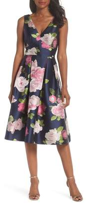 Eliza J Sleeveless Floral Print Fit & Flare Dress