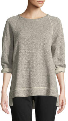 Eileen Fisher Boat-Neck 3/4-Sleeve Twisted Terry Organic Cotton Top, Petite