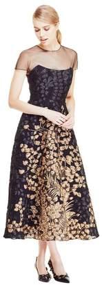 Lela Rose Vine Fil Coupe Organza Combo Peaked Bodice Dress
