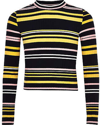 River Island Girls navy stripe long sleeve top