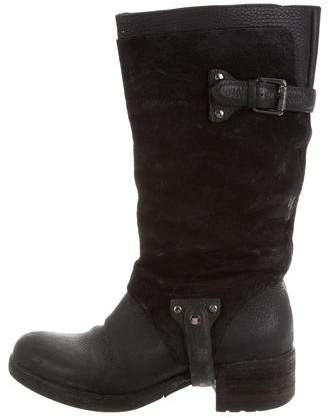 Vera Wang Rounded-Toe Leather Boots