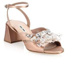 Miu Miu Crystal Block Heel Sandals