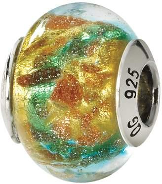 Murano Prerogatives Sterling Blue & Gold Italian Glass Bead