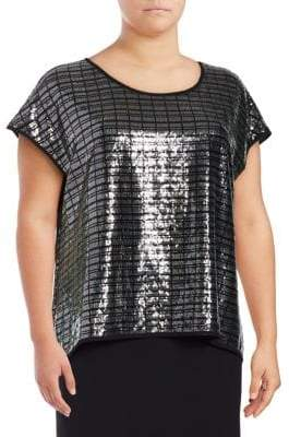 Calvin Klein Plus Sequined Dolman Sleeve Blouse