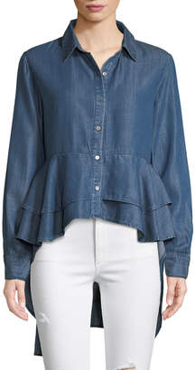 philosophy Dress-back Button-Front Chambray Blouse