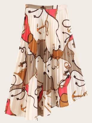 Shein Rope Print Asymmetric Hem Pleated Skirt