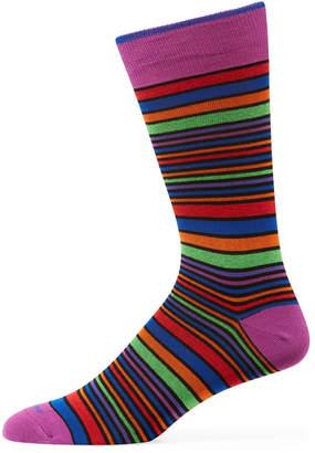 Duchamp Men's Multicolor Striped Cotton Socks