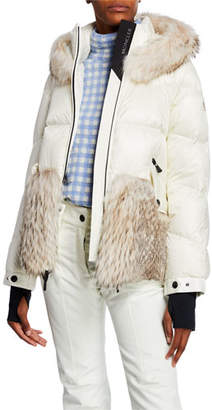 Moncler Joux Quilted Coat w/ Fur & Hood