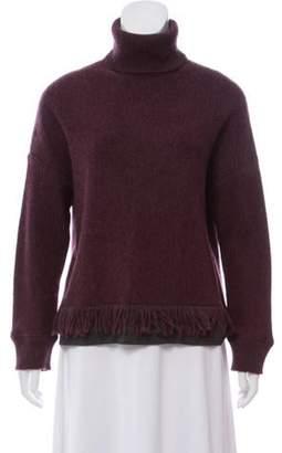 Fendi Cashmere and Wool-Blend Turtleneck Sweater Plum Cashmere and Wool-Blend Turtleneck Sweater