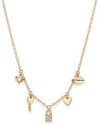 Chicco Zoë 14K Yellow Gold Itty Bitty Dangling Charms Pavé Diamond Adjustable Necklace, 18""