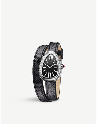 Bvlgari 102782 Serpenti stainless steel and diamond with karung leather bracelet watch 27mm