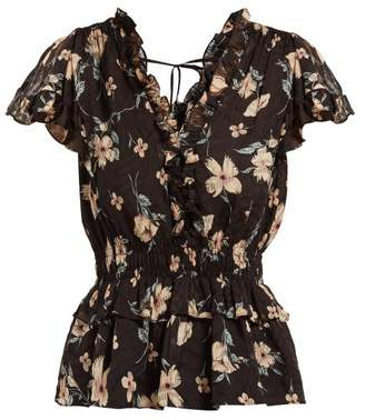 88751b1540b84 Rebecca Taylor Floral Print Ruffled Silk Blend Blouse - Womens - Black Multi