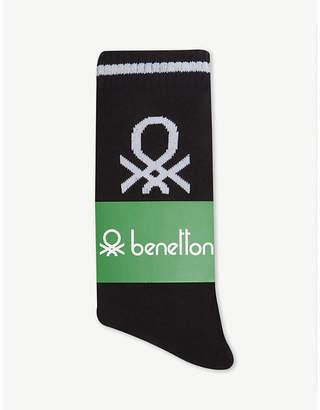 Benetton Unisex logo knitted cotton-blend socks
