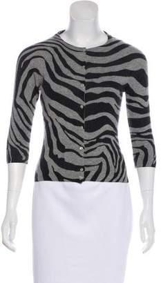 Autumn Cashmere Zebra Print Button-Up Cardigan