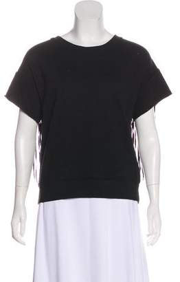 BLK DNM Fringe-Accented Short Sleeve Top