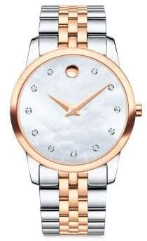 Movado Museum Classic Diamond, Mother-of-Pearl, Rose Gold& Stainless Steel Link Bracelet Watch