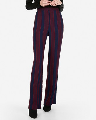 Express Petite Super High Waisted Stripe Wide Leg Dress Pant