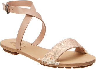 Brunello Cucinelli Leather Ankle Wrap Sandal