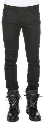 Balmain Clean Stretch-Denim Biker Jeans, Black $1,060 thestylecure.com