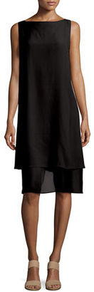Eileen Fisher Sleeveless Layered-Hem Silk Georgette Dress $398 thestylecure.com