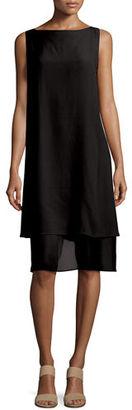 Eileen Fisher Sleeveless Layered-Hem Silk Georgette Dress $398 thestylecure.com