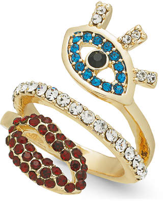 Thalia Sodi Gold-Tone Crystal Evil Eye & Lip Ring