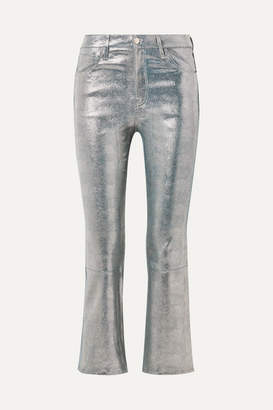J Brand Selena Cropped Metallic Snake-effect Leather Flared Pants - Silver