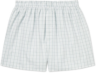 Sunspel Checked Cotton Boxer Shorts $55 thestylecure.com