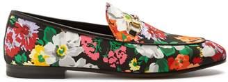 Gucci Jordaan floral-print satin loafers