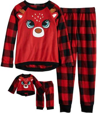 Cuddl Duds Girls 4-12 Christmas Reindeer Buffalo Plaid Fleece Top & Bottoms Pajama Set & Doll Pajama Set