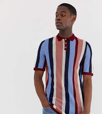 Asos Design DESIGN Tall knitted vertical stripe polo t-shirt