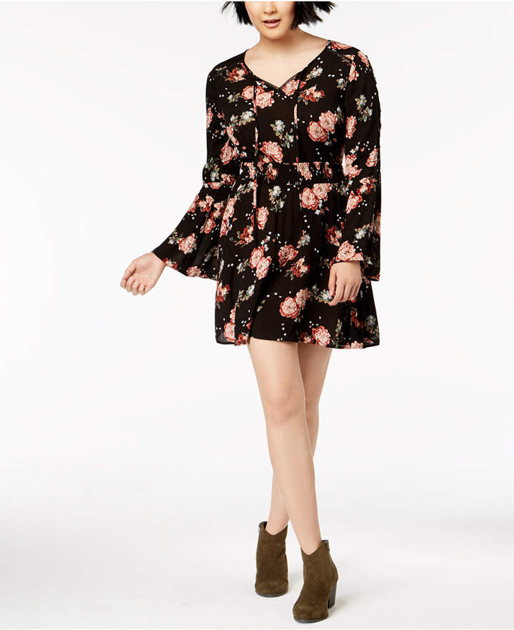 American Rag Juniors' Lace-Up Bell-Sleeve Dress, Created for Macy's