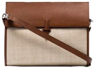 BEIGE Hunting Season leather and straw clutch bag