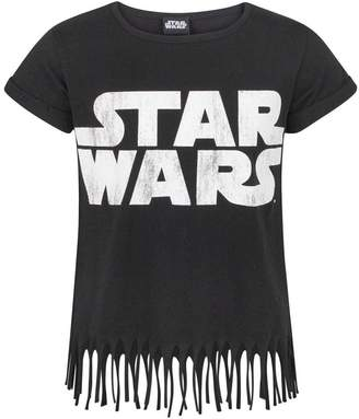Star Wars Childrens/Girls Official Fringed Logo T-Shirt