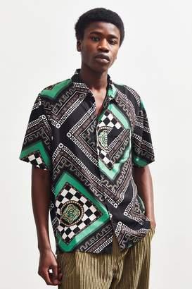 Urban Outfitters Modern Scarf Print Rayon Short Sleeve Button-Down Shirt