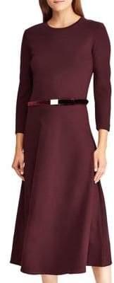 Lauren Ralph Lauren Velvet Belted Ponte Dress