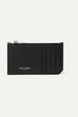 Saint Laurent Textured-leather Cardholder - Black