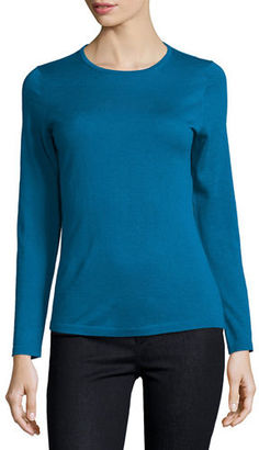 Neiman Marcus Cashmere Collection Modern Superfine Cashmere Crewneck Sweater $250 thestylecure.com